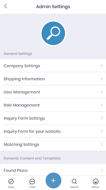 Lost and Found App Admin Settings Screen
